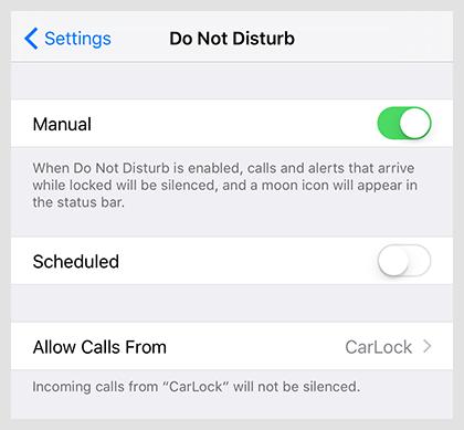 Allow calls form CarLock group