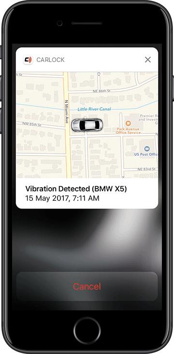 CarLock Vibration Detected Push Notification