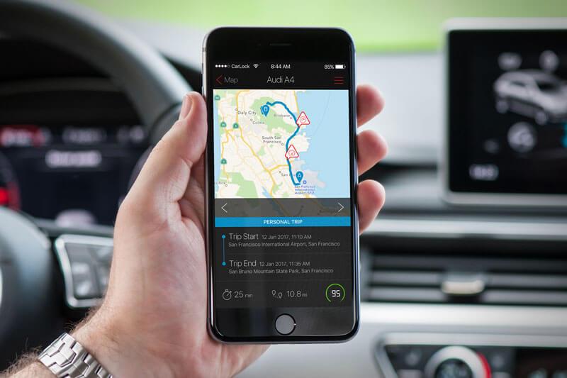 CarLock GPS car tracker - Trip history and past notifications log